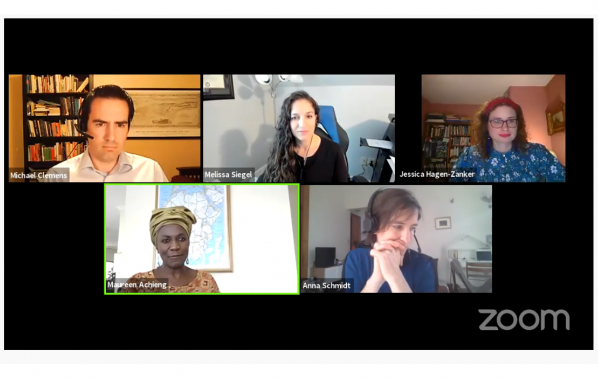 Screenshot of panellists speaking at webinar, 'Does development curb or drive migration? Implications for policymaking.'