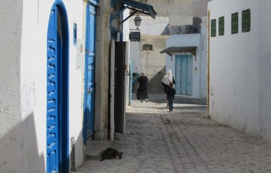 Cobblestone backstreets of Kairouan, Tunisia.