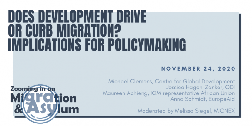 Promotional image for the event 'Does migration drive or curb migration? Implications for policymaking'.